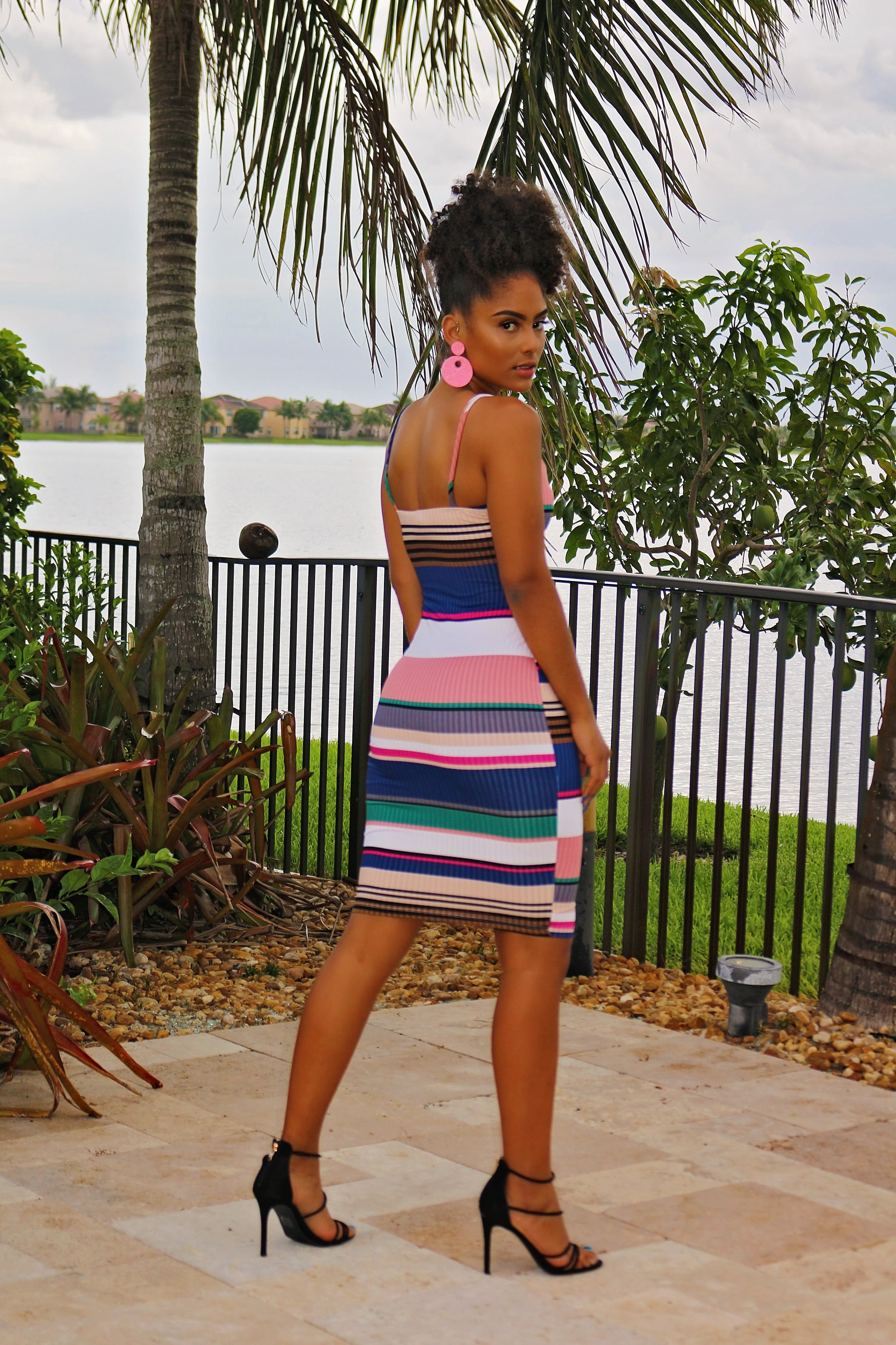 Lizett - Focus On Me Stripe Midi Dress - Multi - Semai House Of fashion