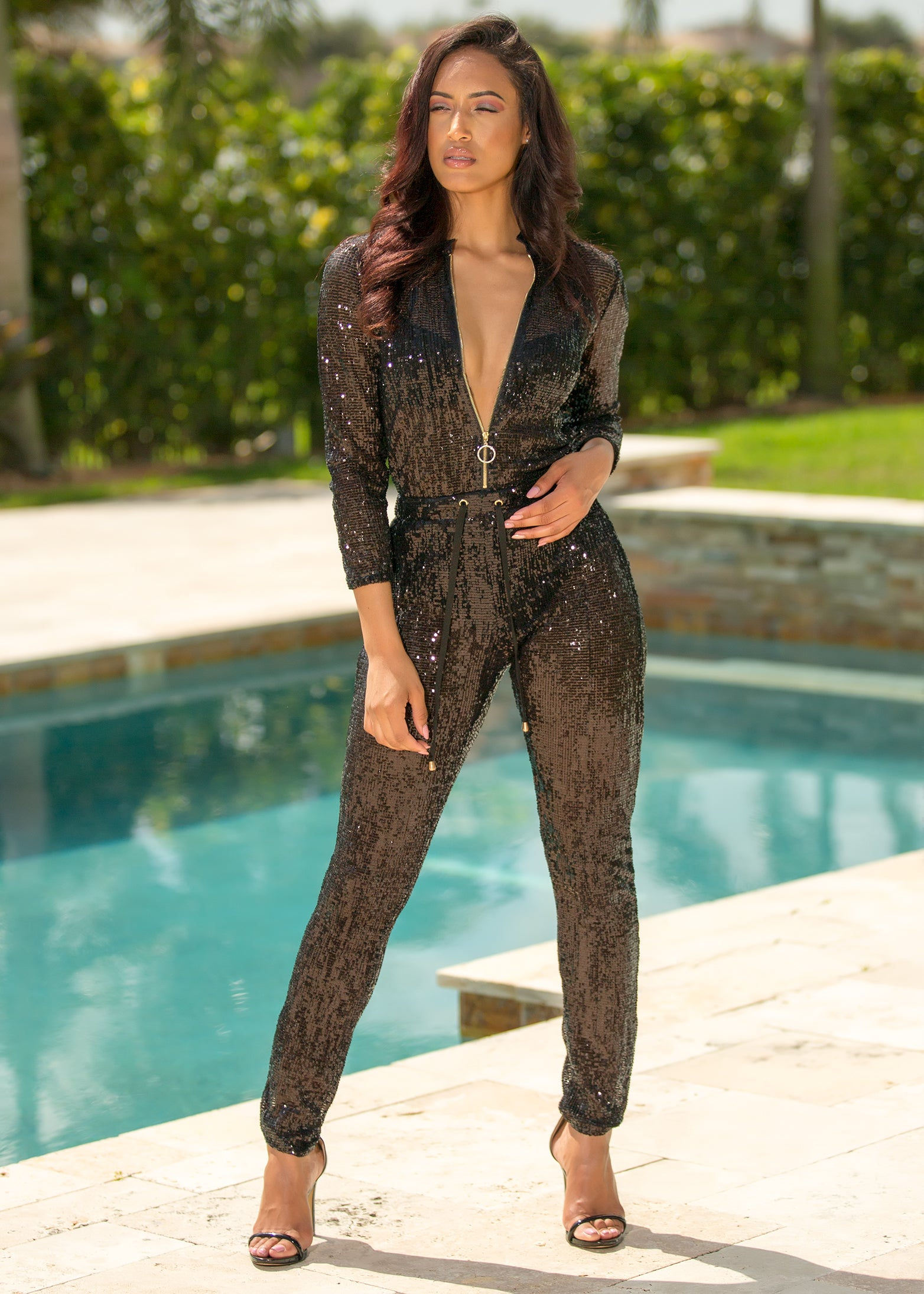 Genie - Lights On Black Sequin Jumpsuit - Semai House Of fashion