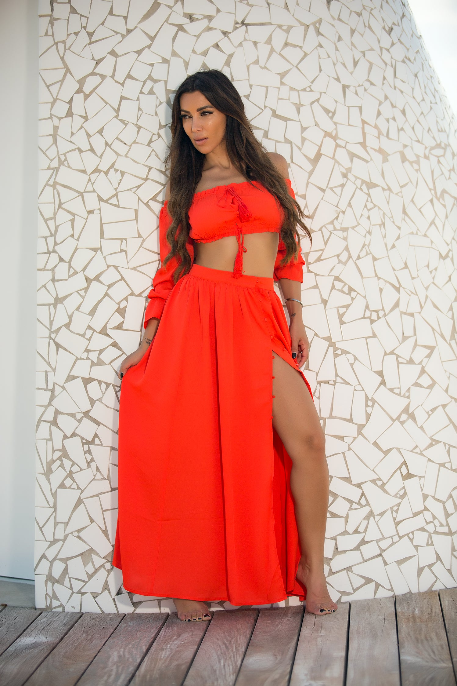 Frida - Gifted Off Shoulder Skirt Set - Red - Semai House Of fashion
