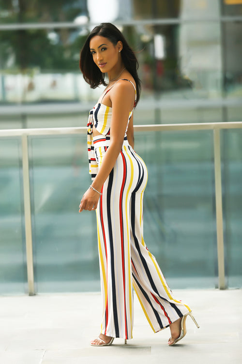 Katrina - Going Places Stripe Knot Palazzo Jumpsuit - Semai House Of fashion