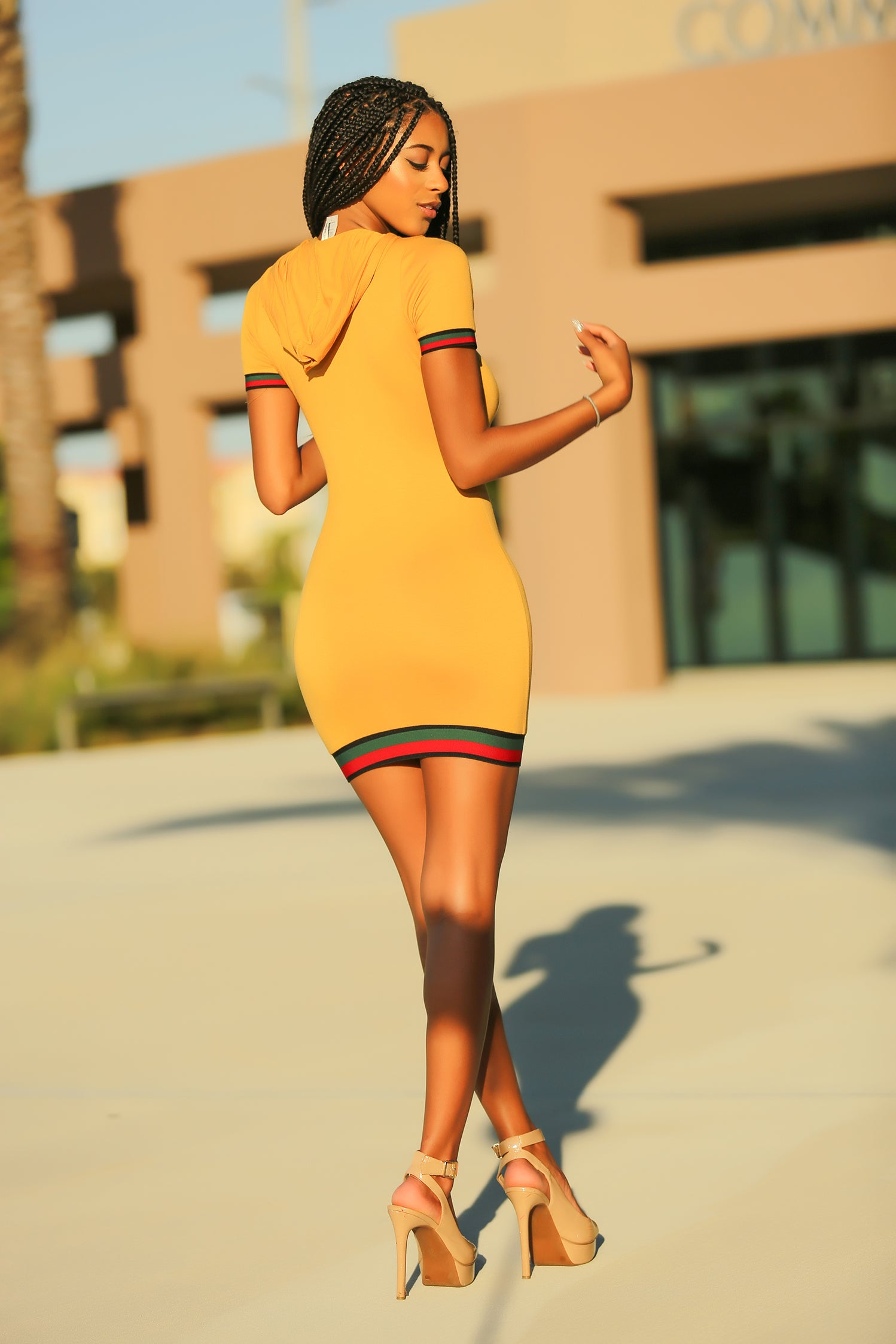 Nisha - It's My Hoodie Mini Dress - Mustard - Semai House Of fashion
