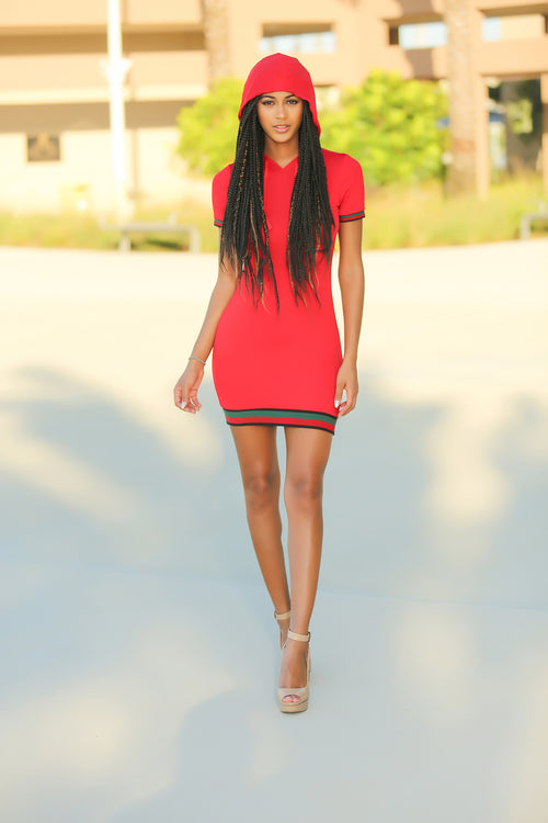 Nisha - It's My Hoodie Mini Dress - Red - Semai House Of fashion