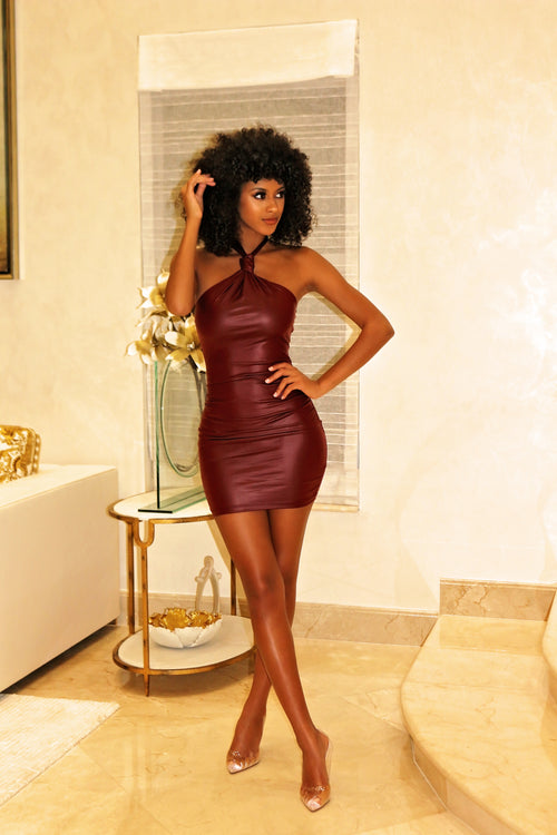 Kylie - Flaunt Curves Halter Mini Dress - Burgundy