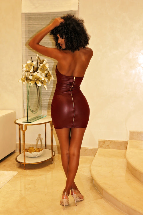 Kylie - Flaunt Curves Halter Mini Dress - Burgundy - Semai House Of fashion