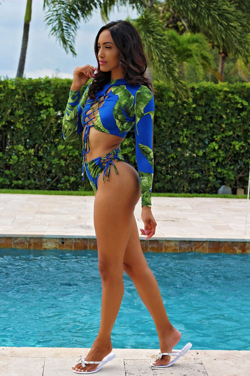 LaceLeaf Long Sleeve Bikini - Royal/Multi Side