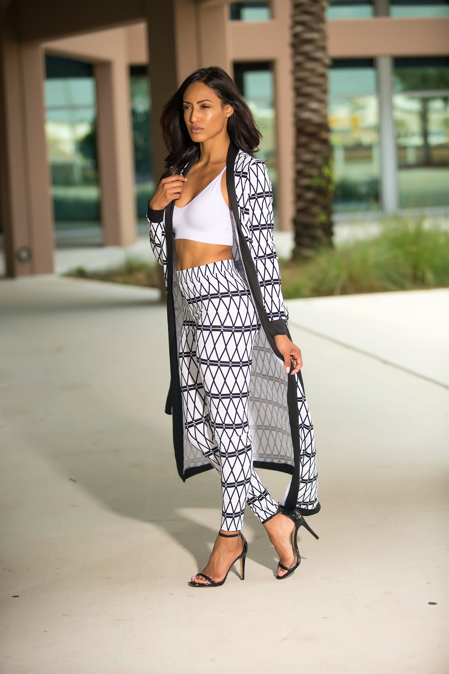 Lulu - Long Cardigan Pant Set - White - Semai House Of fashion