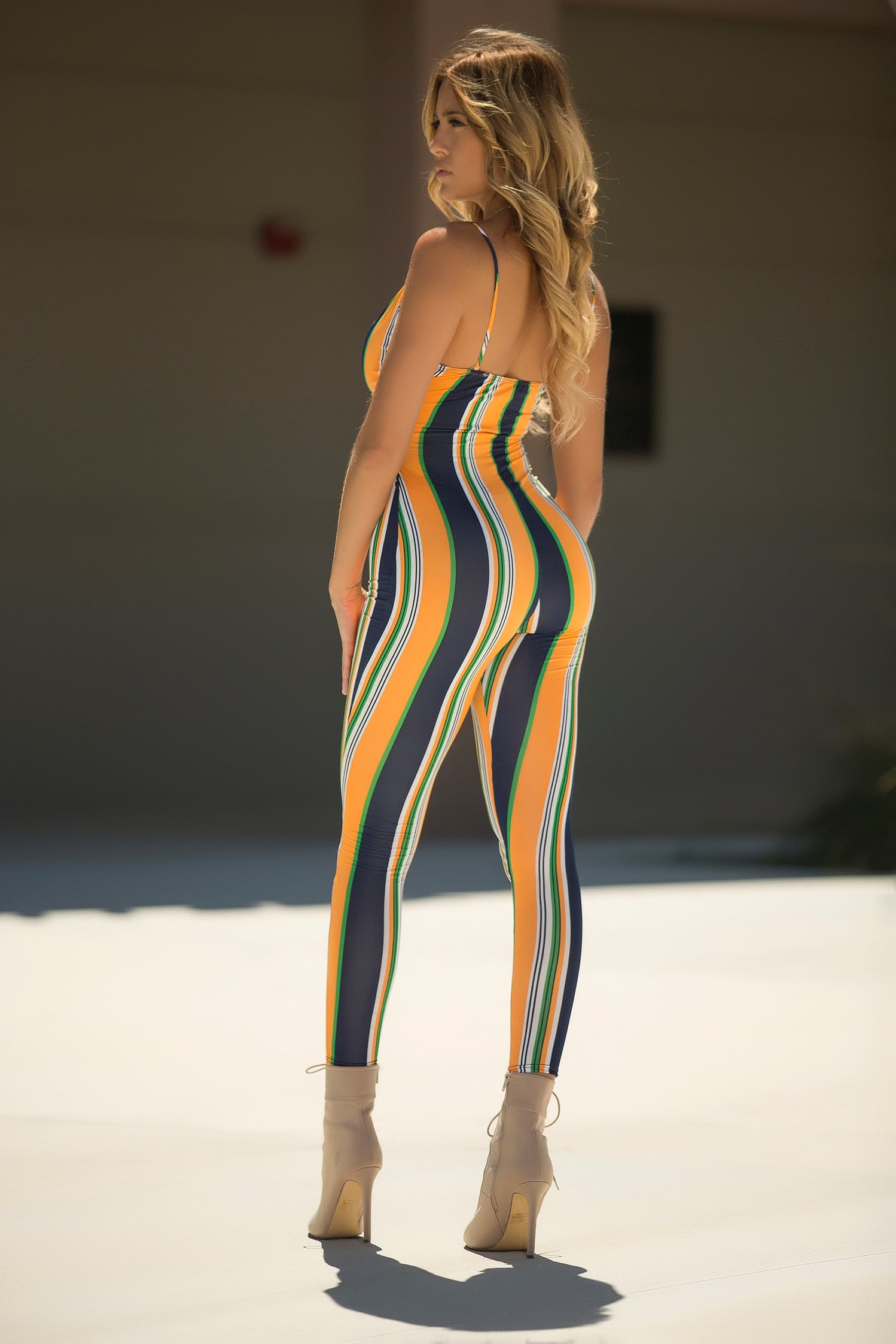 Erin - Long Line Stripe Jumpsuit - Mustard/Multi - Semai House Of fashion