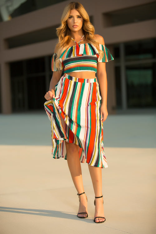 Eliza - Long Line Stripe Skirt Set