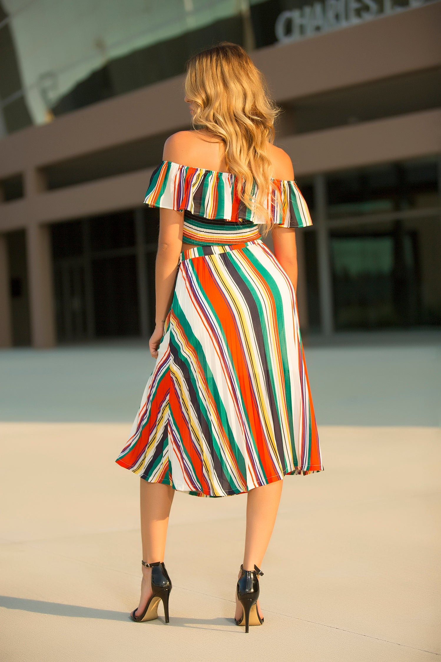 Eliza - Long Line Stripe Skirt Set - Semai House Of fashion