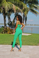 Love My Overall Square Print Overall Pants Set - Green - Semai House Of fashion