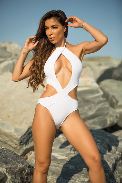 Felicia - Love Ocean Swimsuit - White
