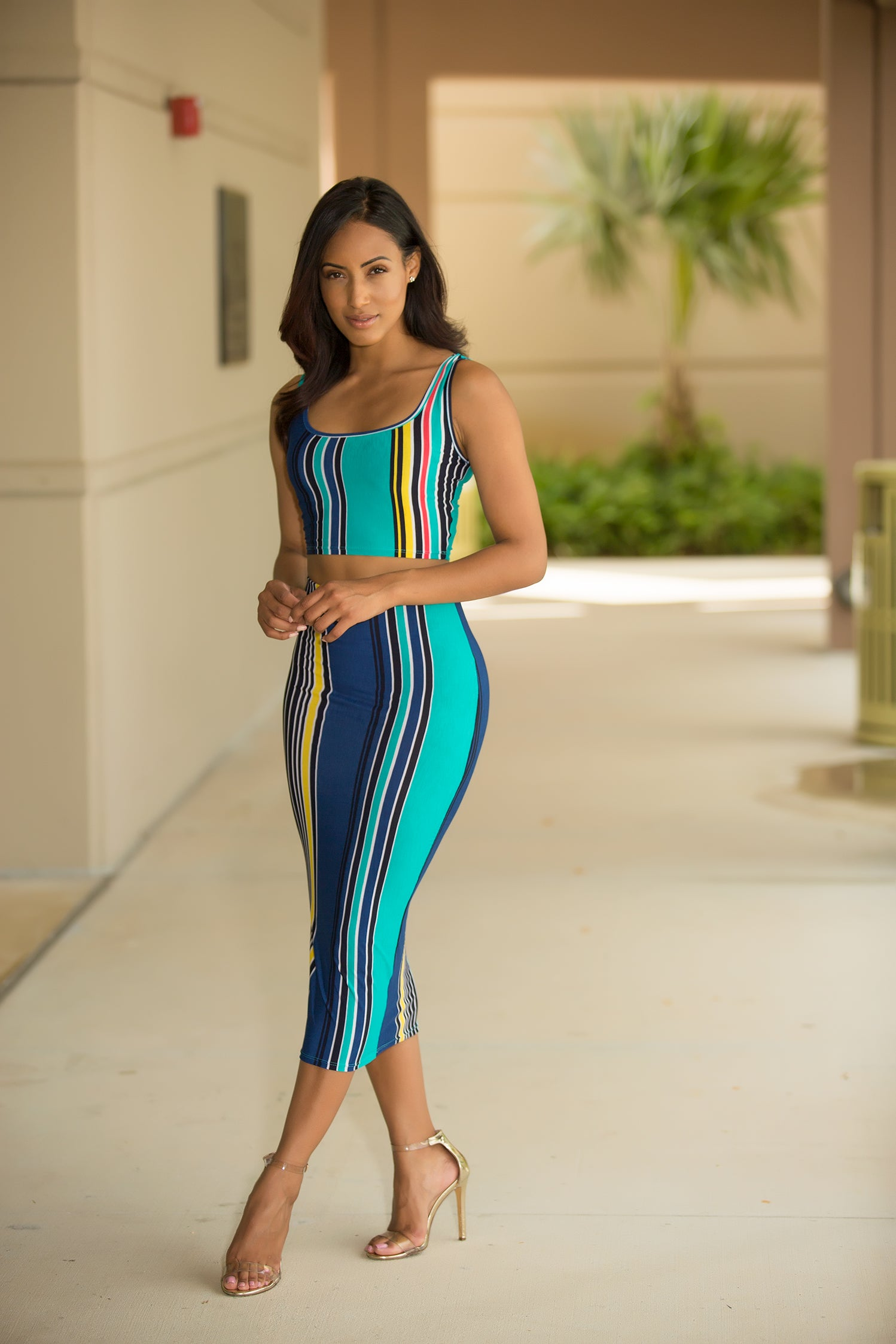 Haley - Multi Stripe Skirt Set - Semai House Of fashion