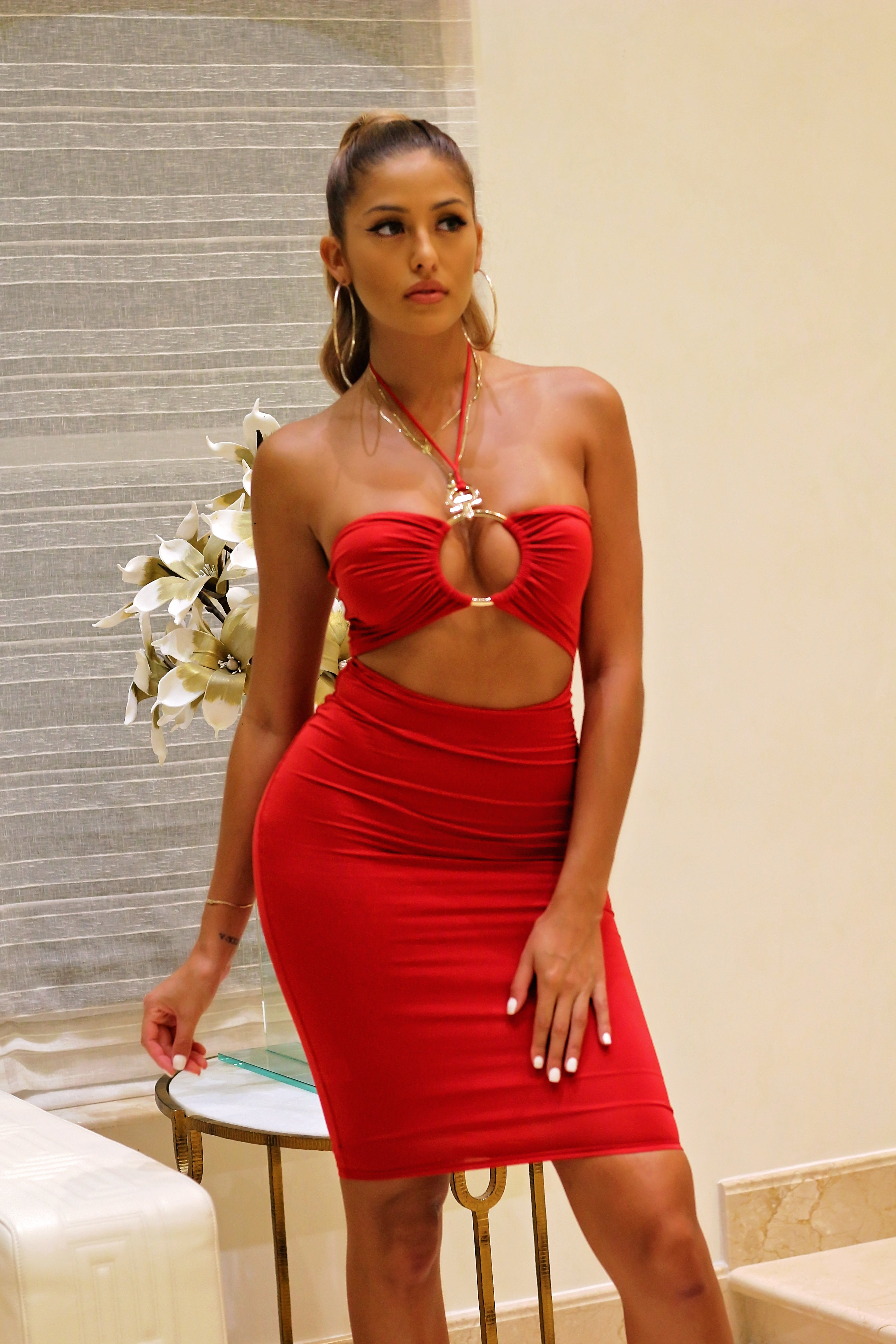 No Rings Attached Midi Dress - Red - Semai House Of fashion