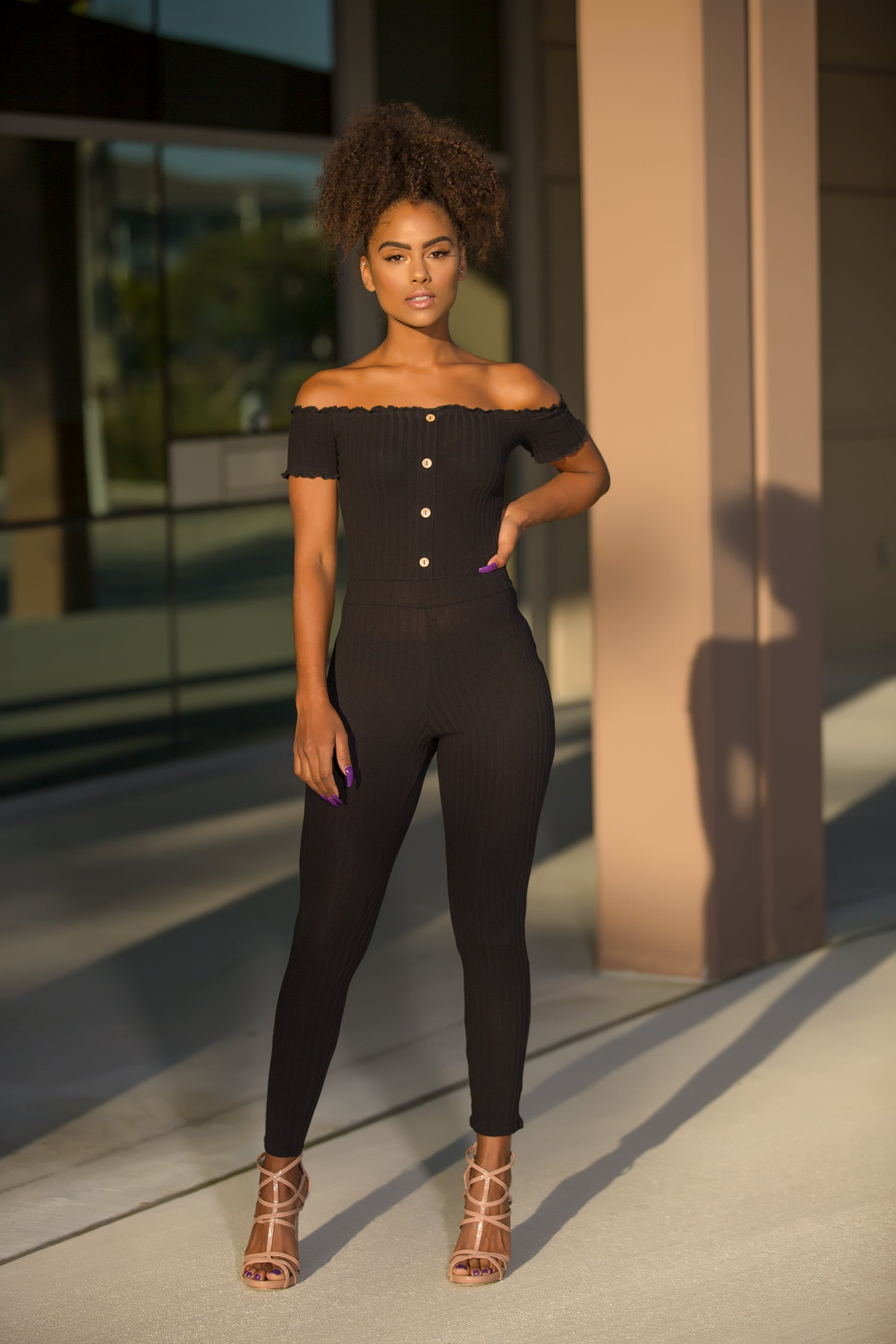 Selene - Off Shoulder Petite Jumpsuit - Black - Semai House Of fashion