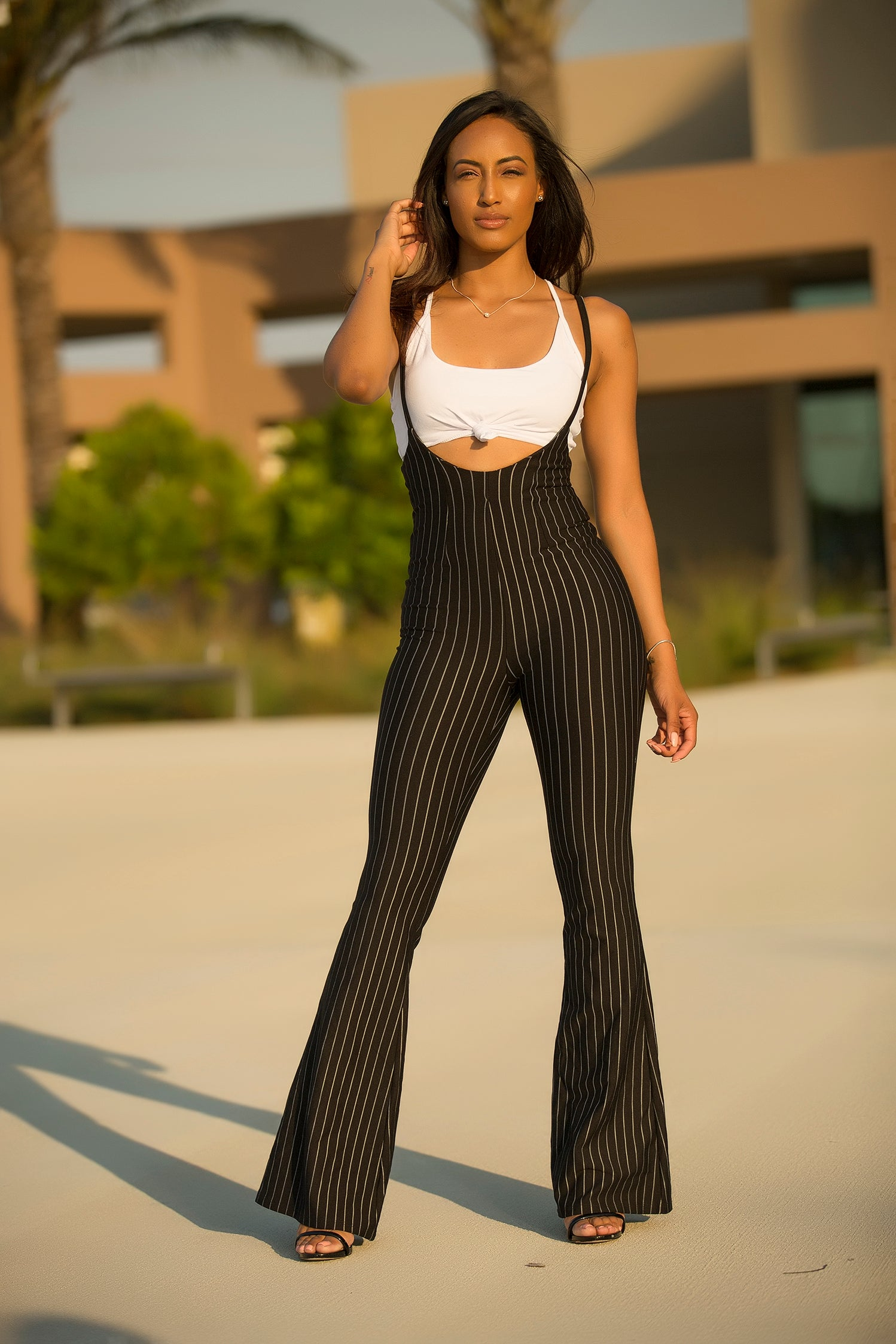 Sofie -  Striped Overall Set - Black - Semai House Of fashion