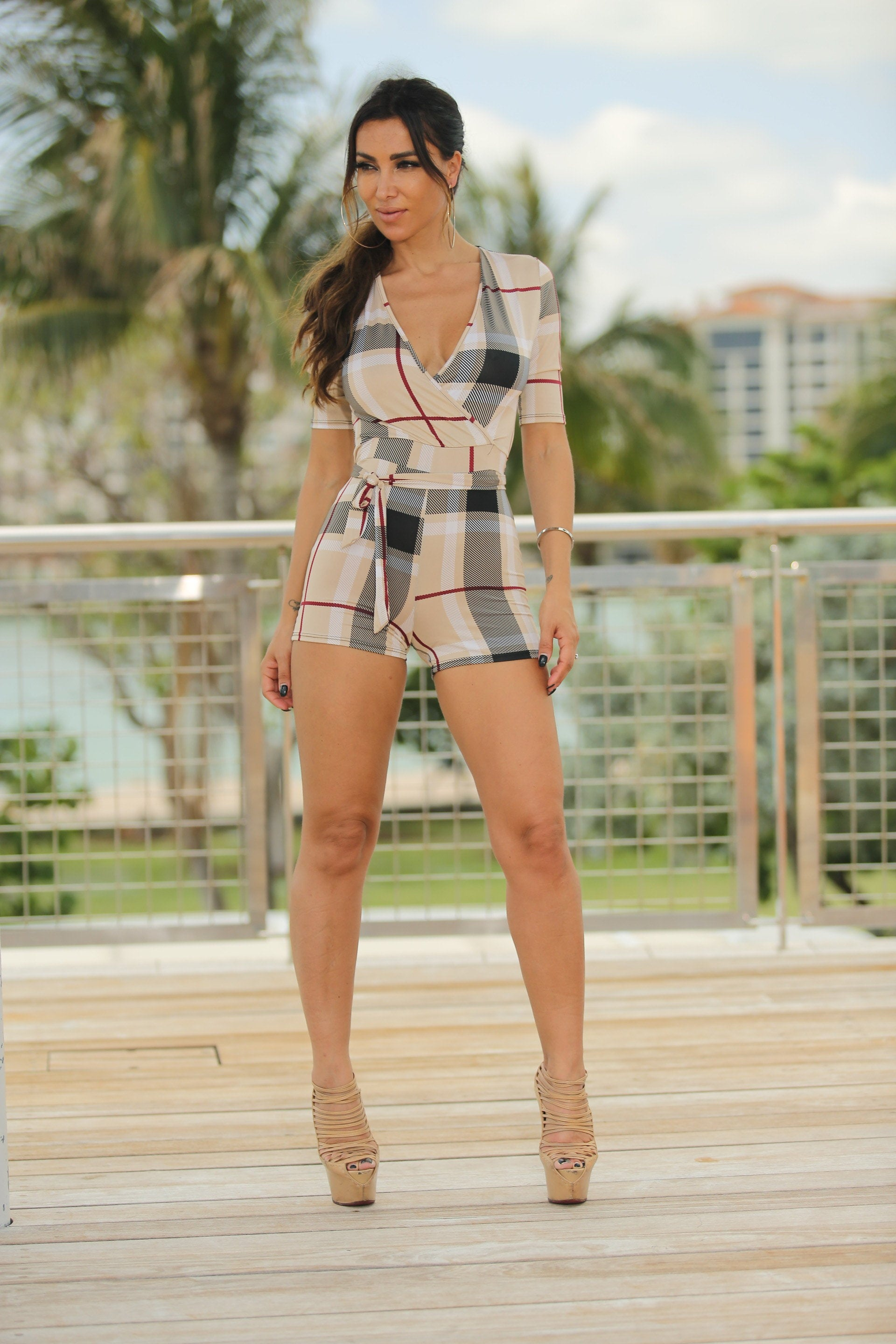 Scarlet - Plaid It Sexy Romper - Semai House Of fashion