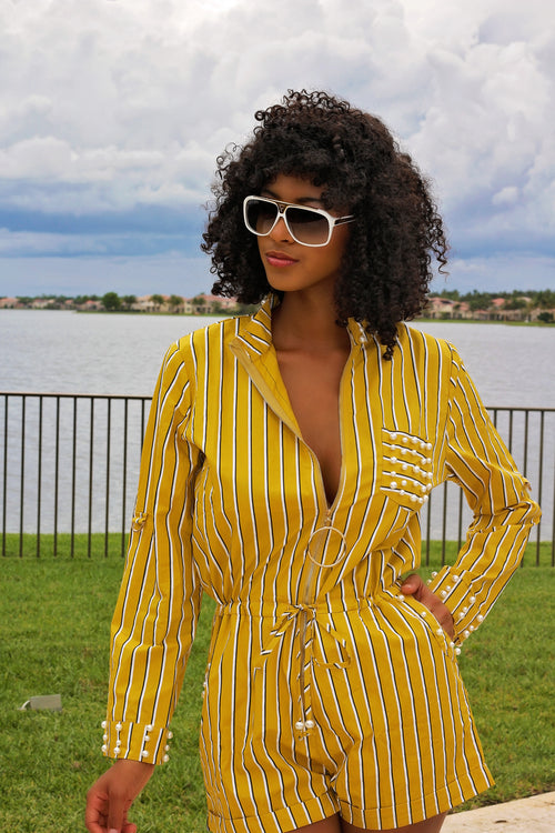 Pretty Like Pearl Striped Romper - Yellow