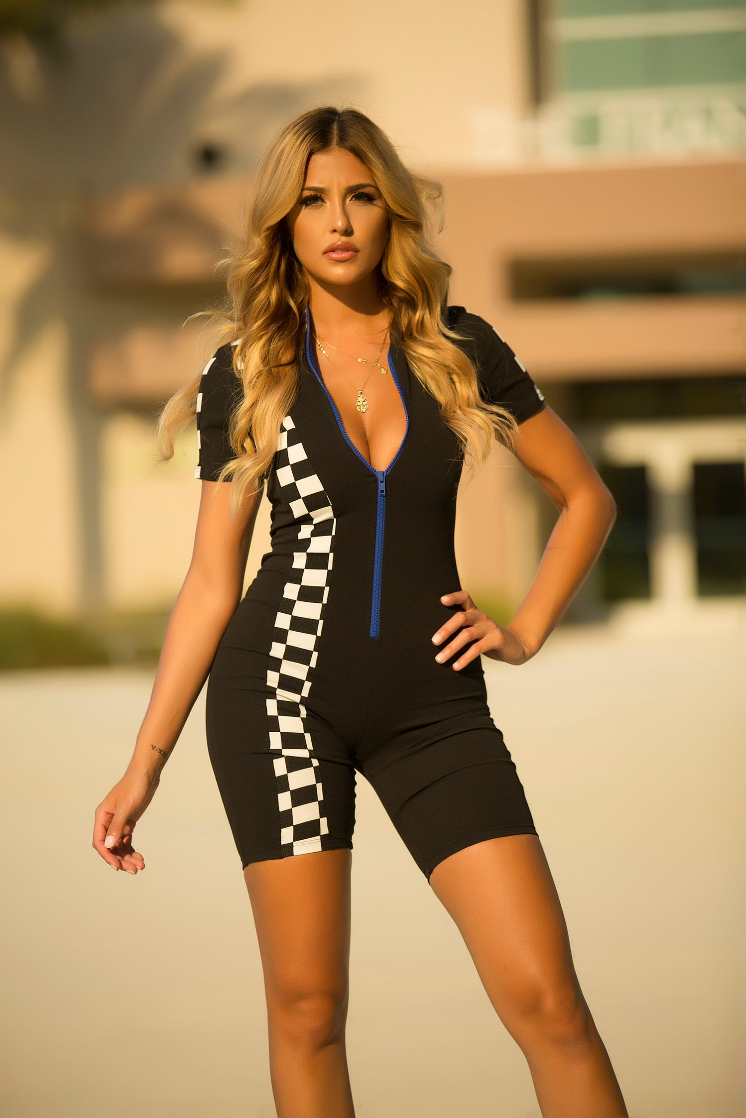 Race My Checkered Romper - Black - Semai House Of fashion