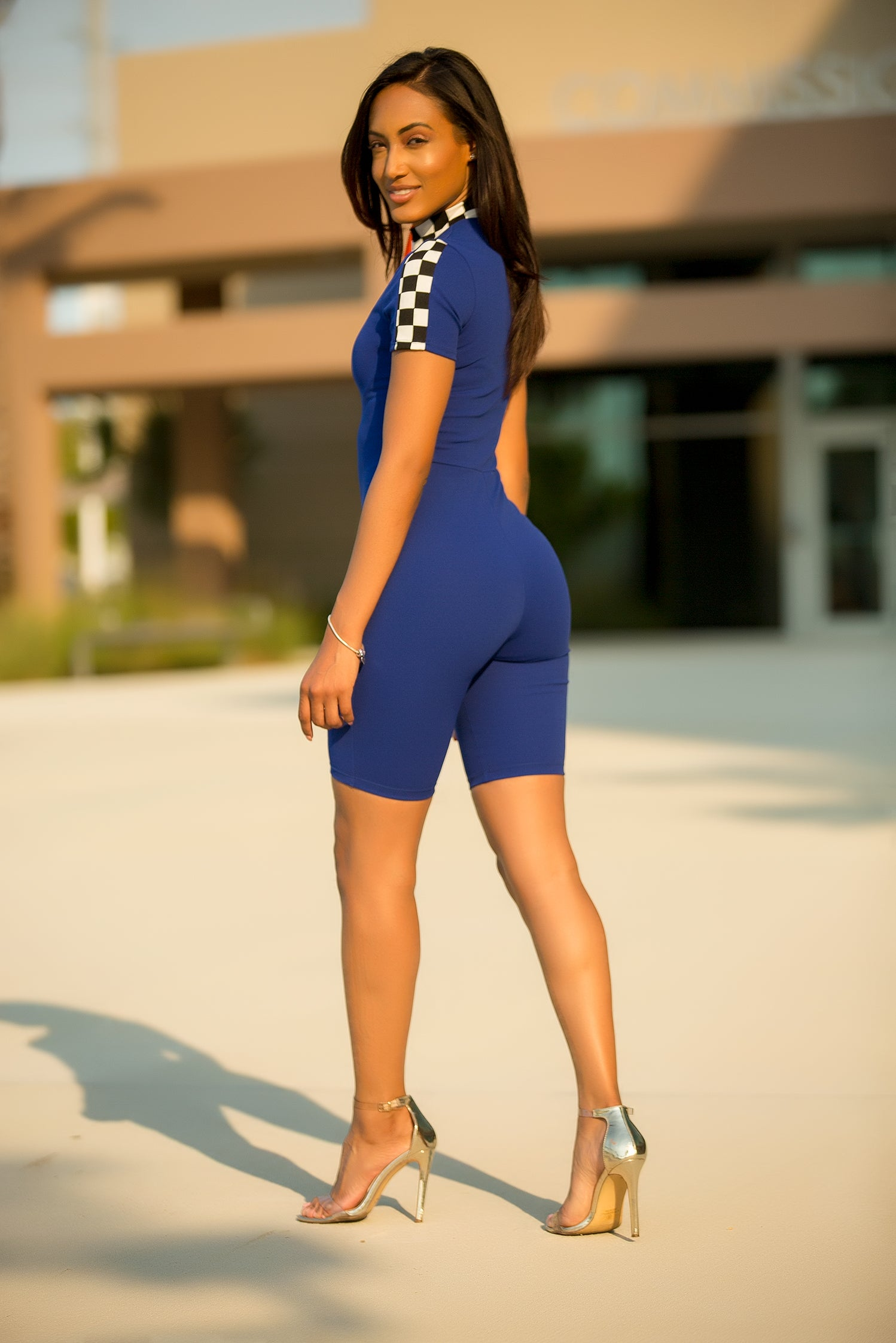 Race My Checkered Romper - Blue - Semai House Of fashion