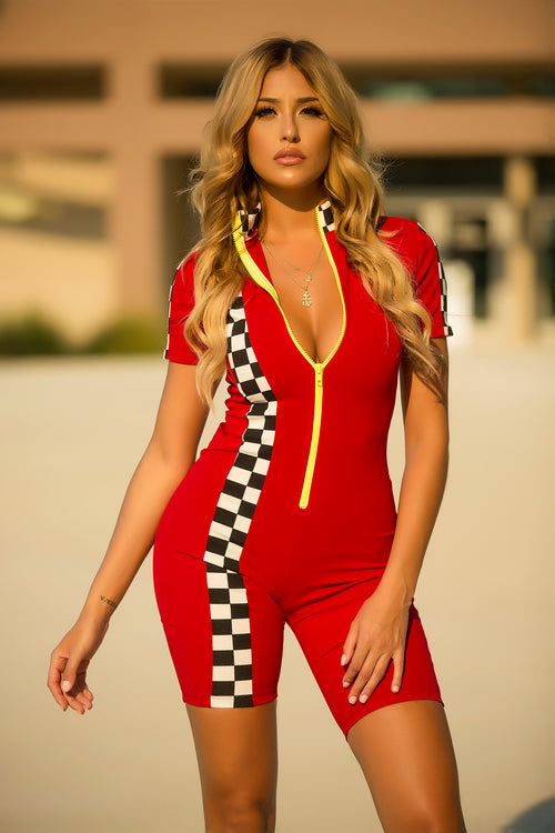 Race My Checkered Romper - Red