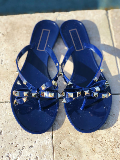 Rock Studded Flat Sandals - Blue Close