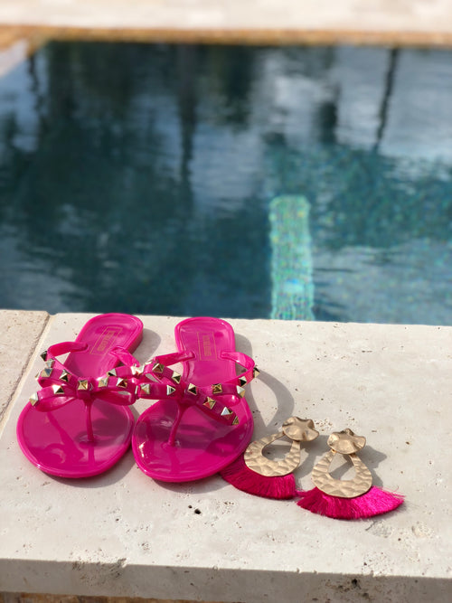 Rock Studded Flat Sandals - Fuchsia OG
