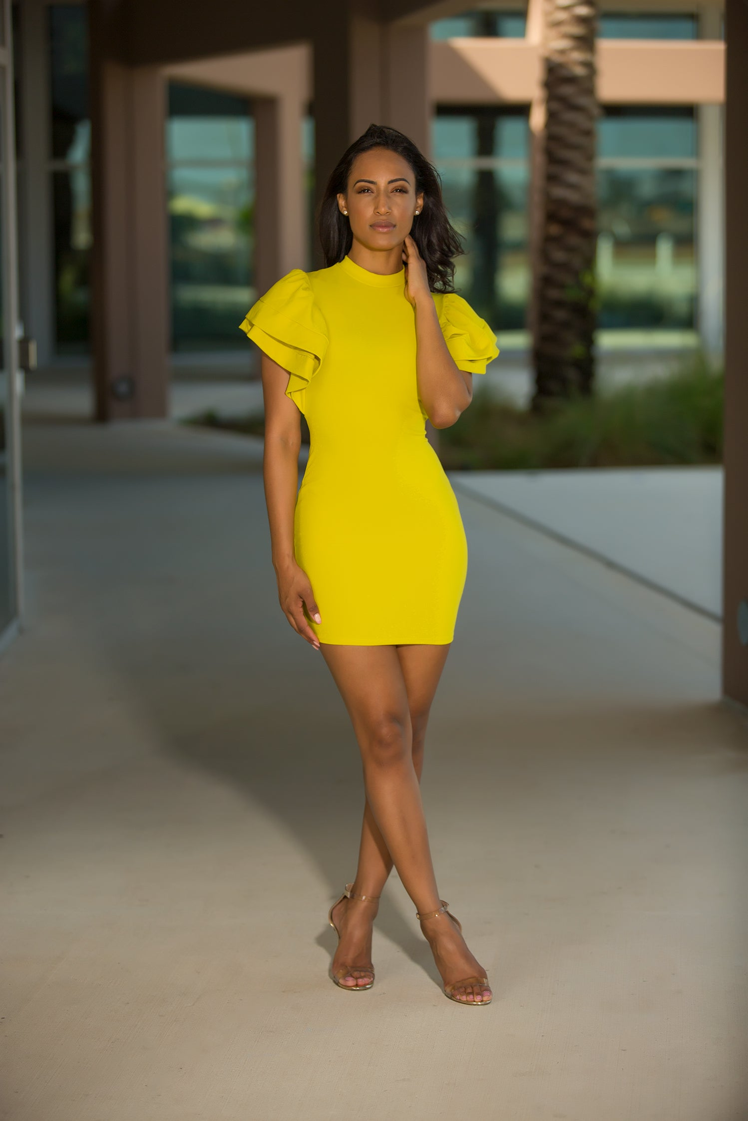 Gabriella - Ruffle Queen Bodycon Mini Dress - Mustard - Semai House Of fashion