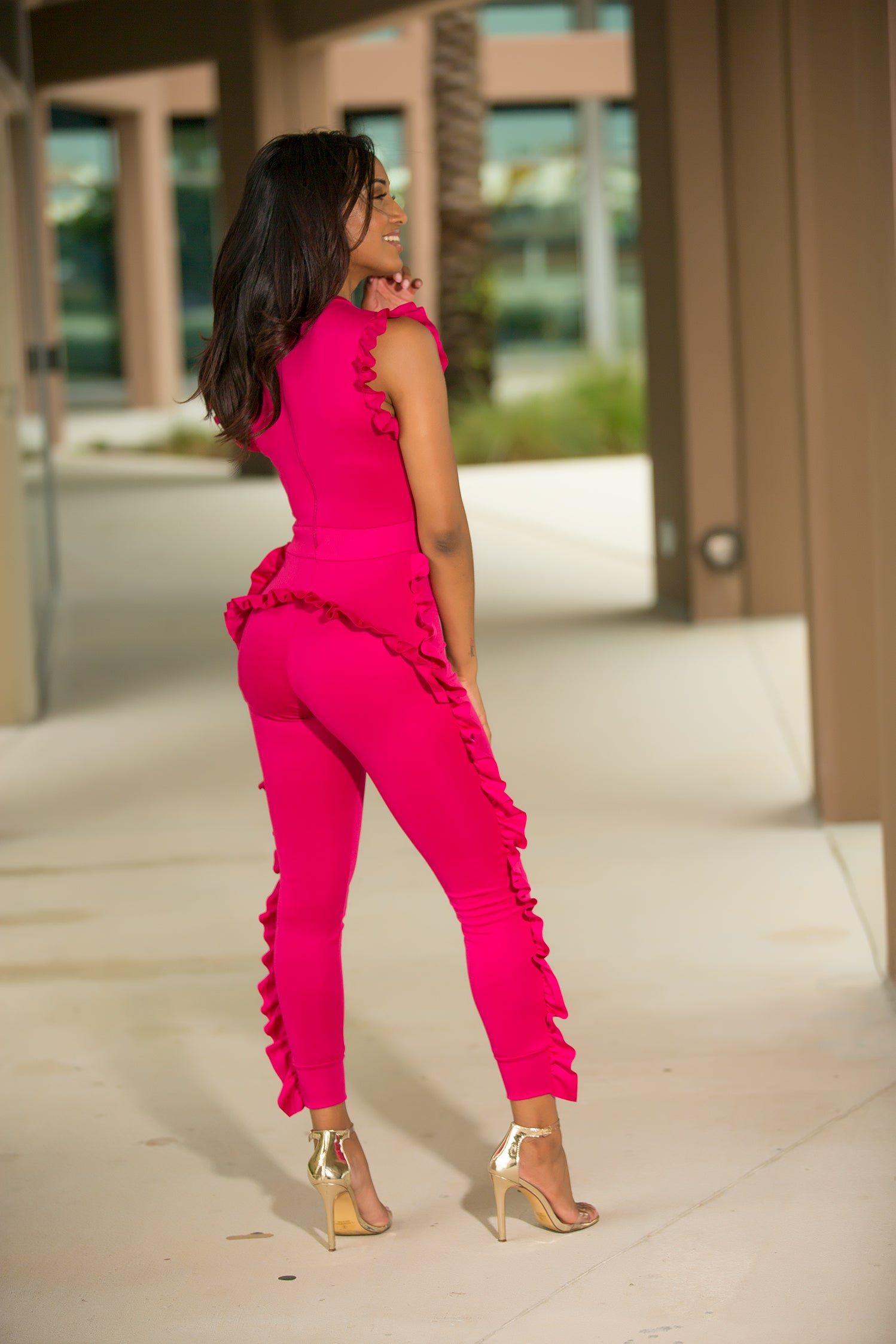 Raquel - Flirty Ruffled Jumpsuit - Fuchsia - Semai House Of fashion