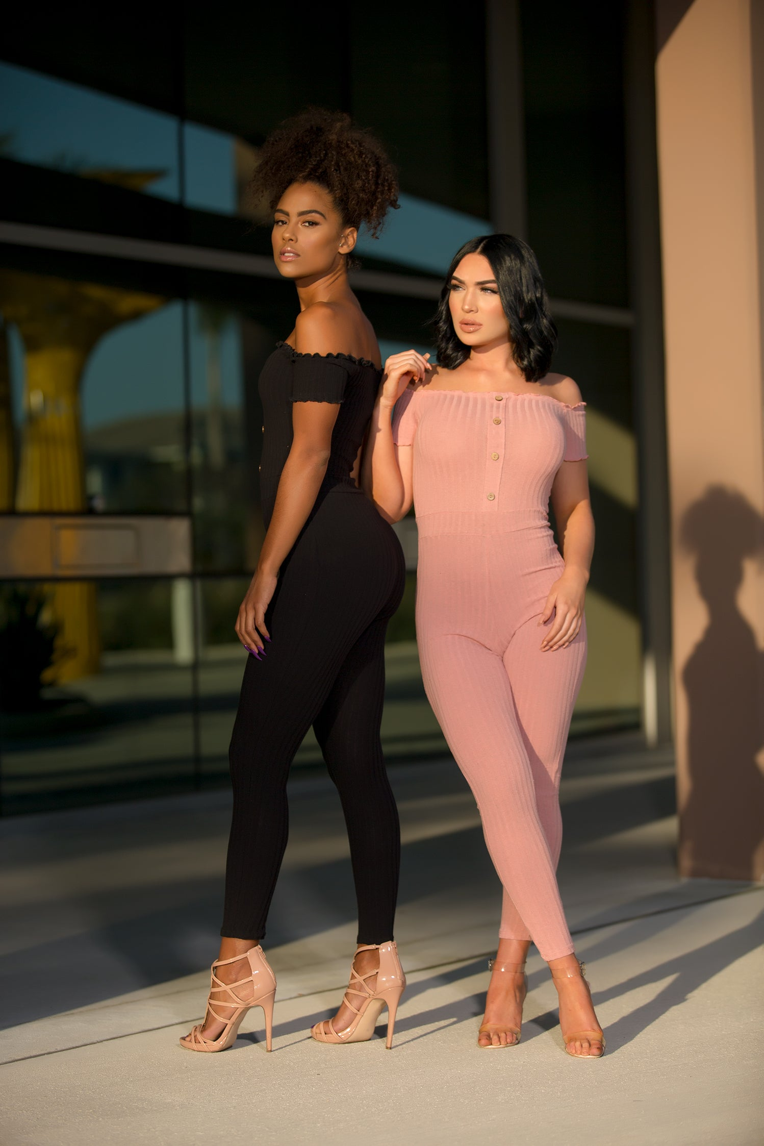 Selene - Off Shoulder Petite Jumpsuit - Pink - Semai House Of fashion