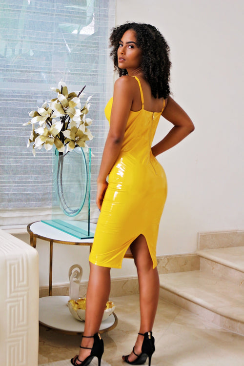 Self Portrait Latex Midi Dress - Yellow Back