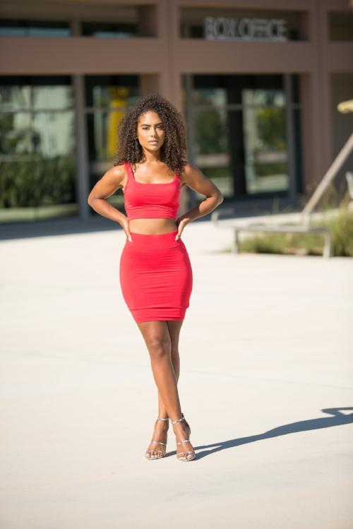 Lisset - Set My Heart On Fire Skirt Set - Red