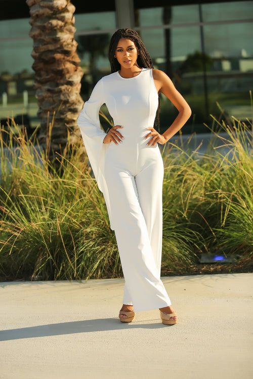 Taraji - She's Worth It Jumpsuit - White