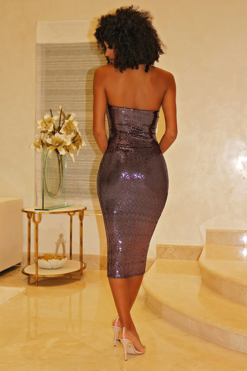 Shimmer Queen Tube Dress- Midi Dress