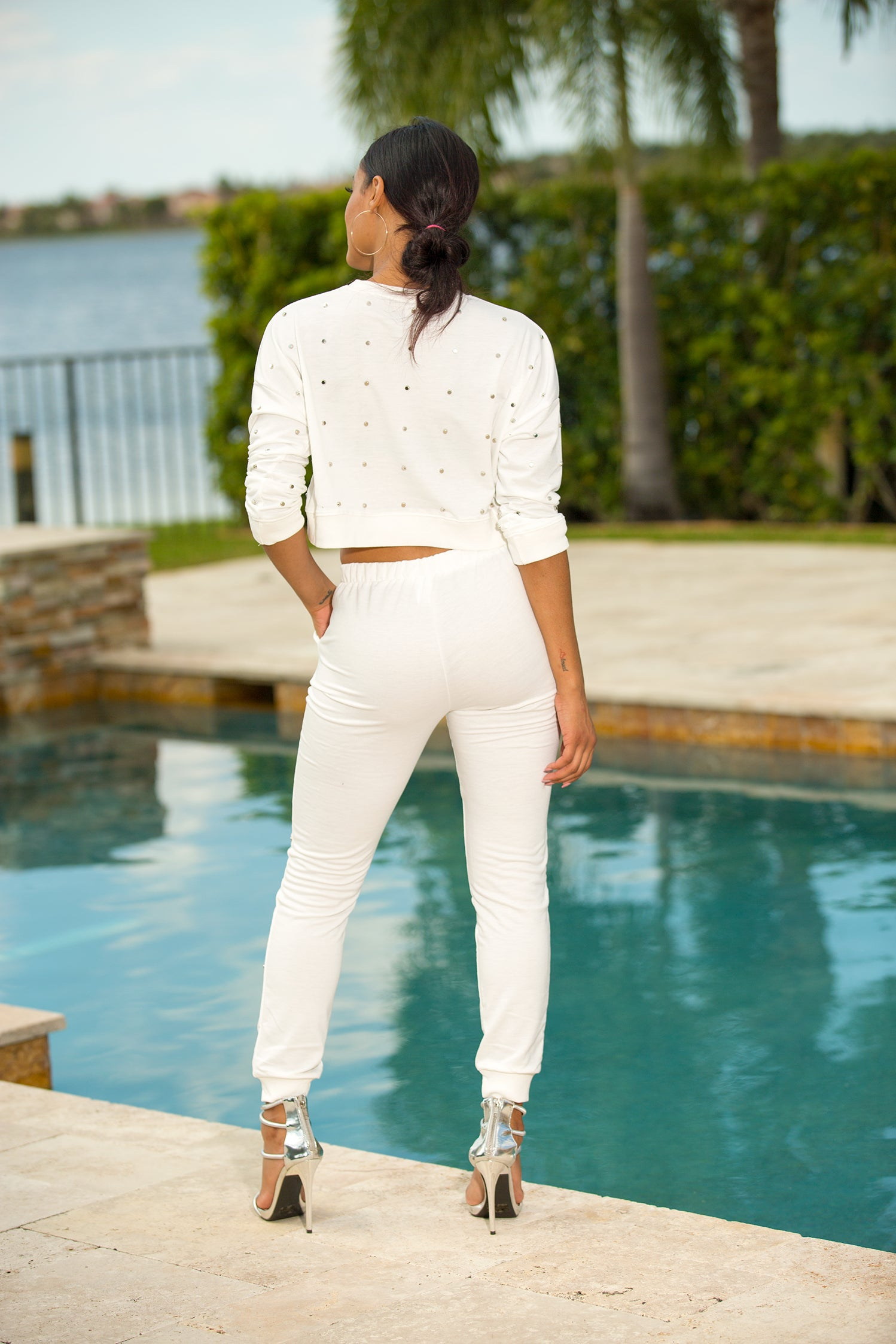Lyra - Silver Them All Over Pant Set - Semai House Of fashion