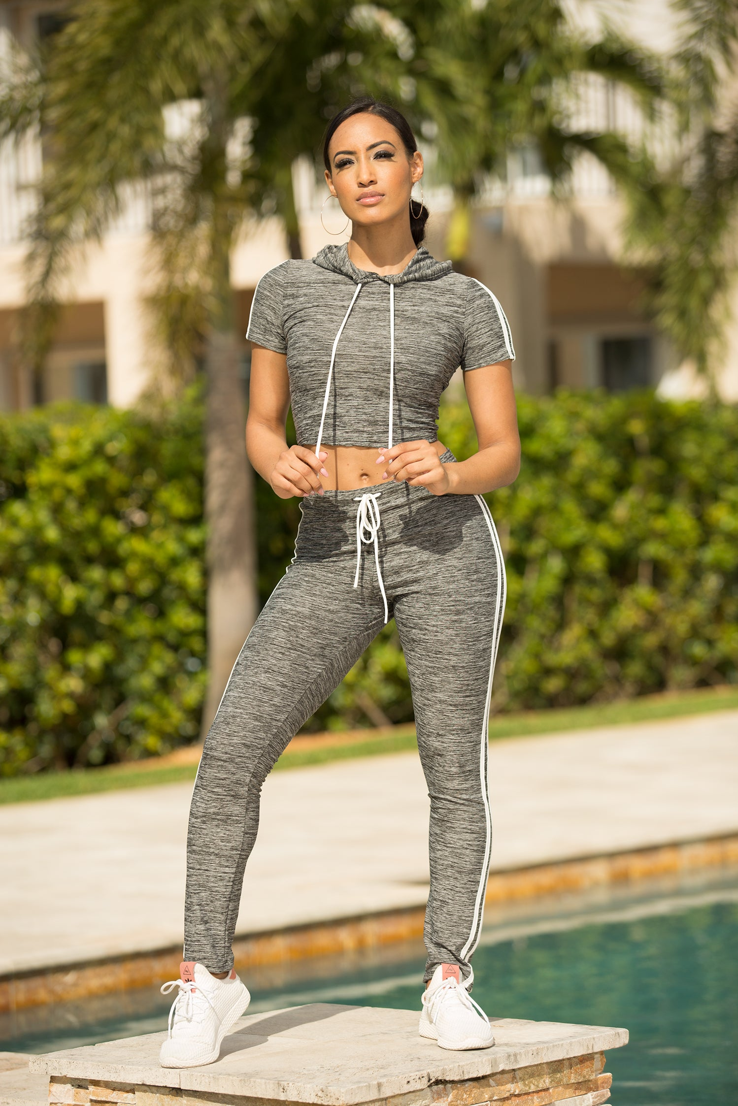 Charcoal On The Move Active striped Pant Set