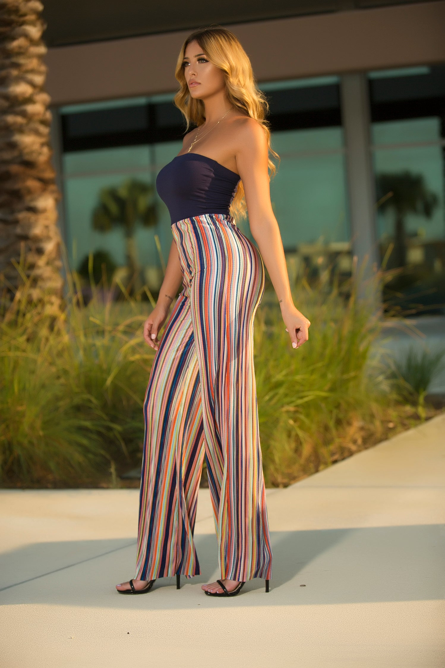 Split Decision Stripe Jumpsuit side