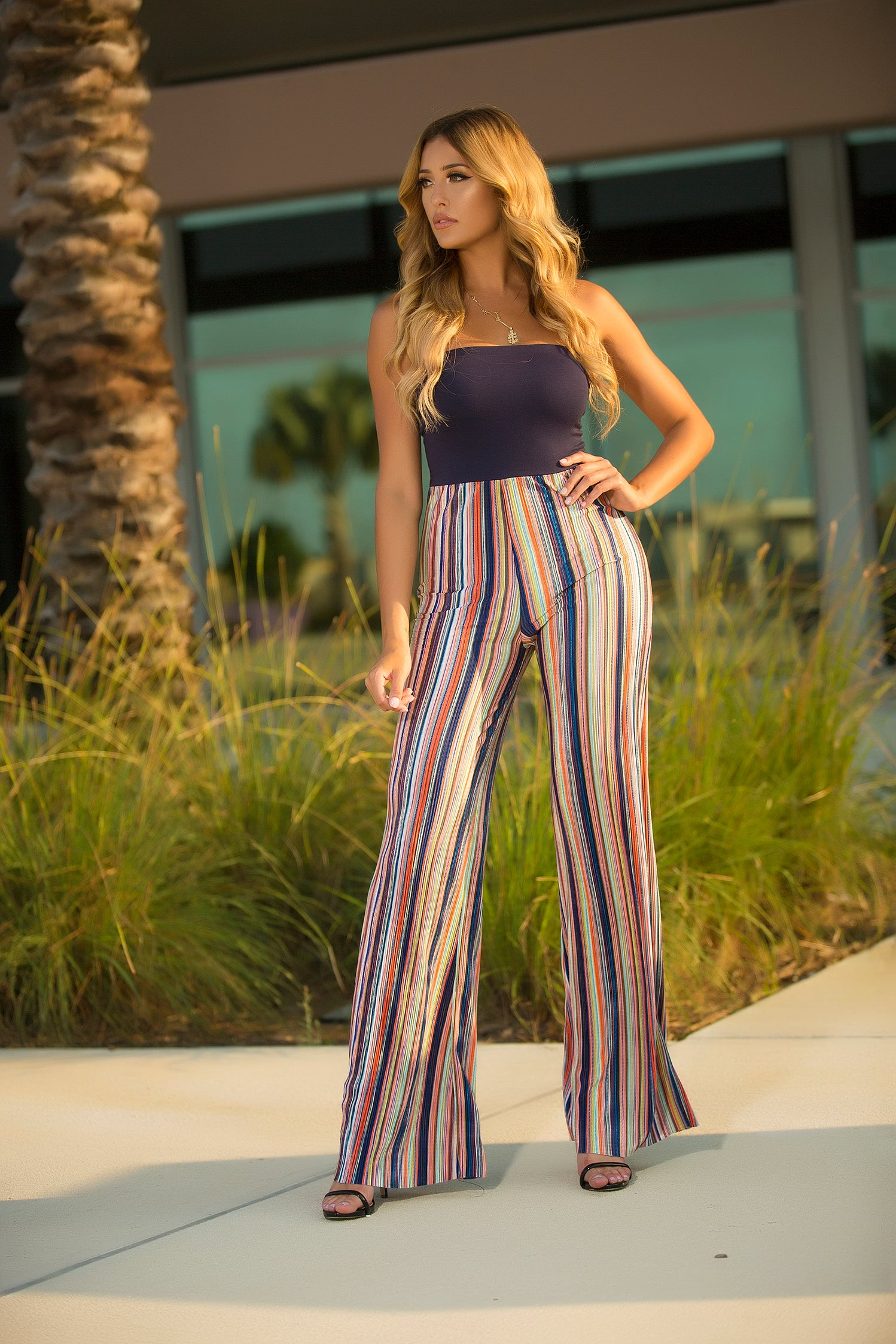 Split Decision Stripe Jumpsuit 2 tone