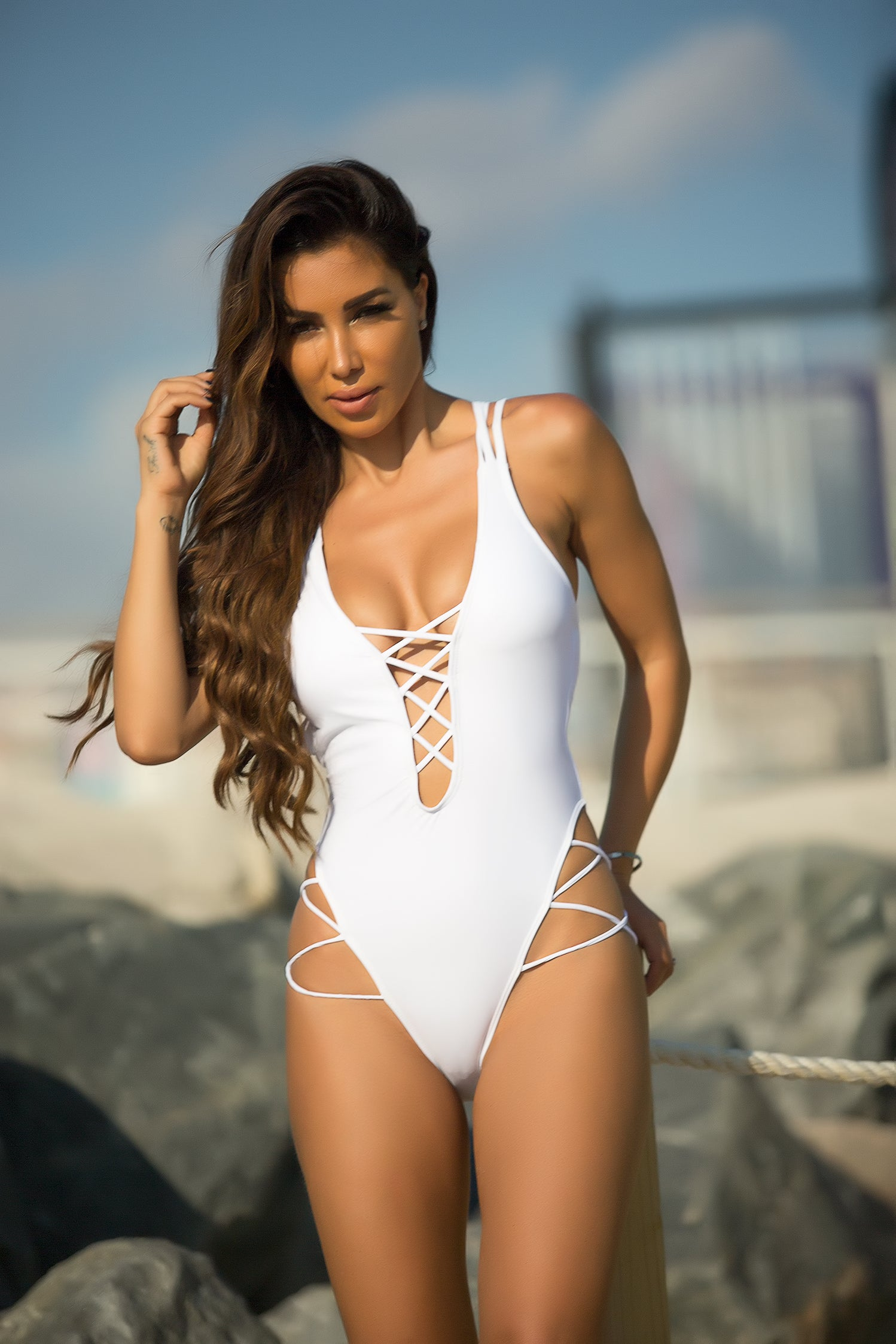 Strappy White Swimsuit