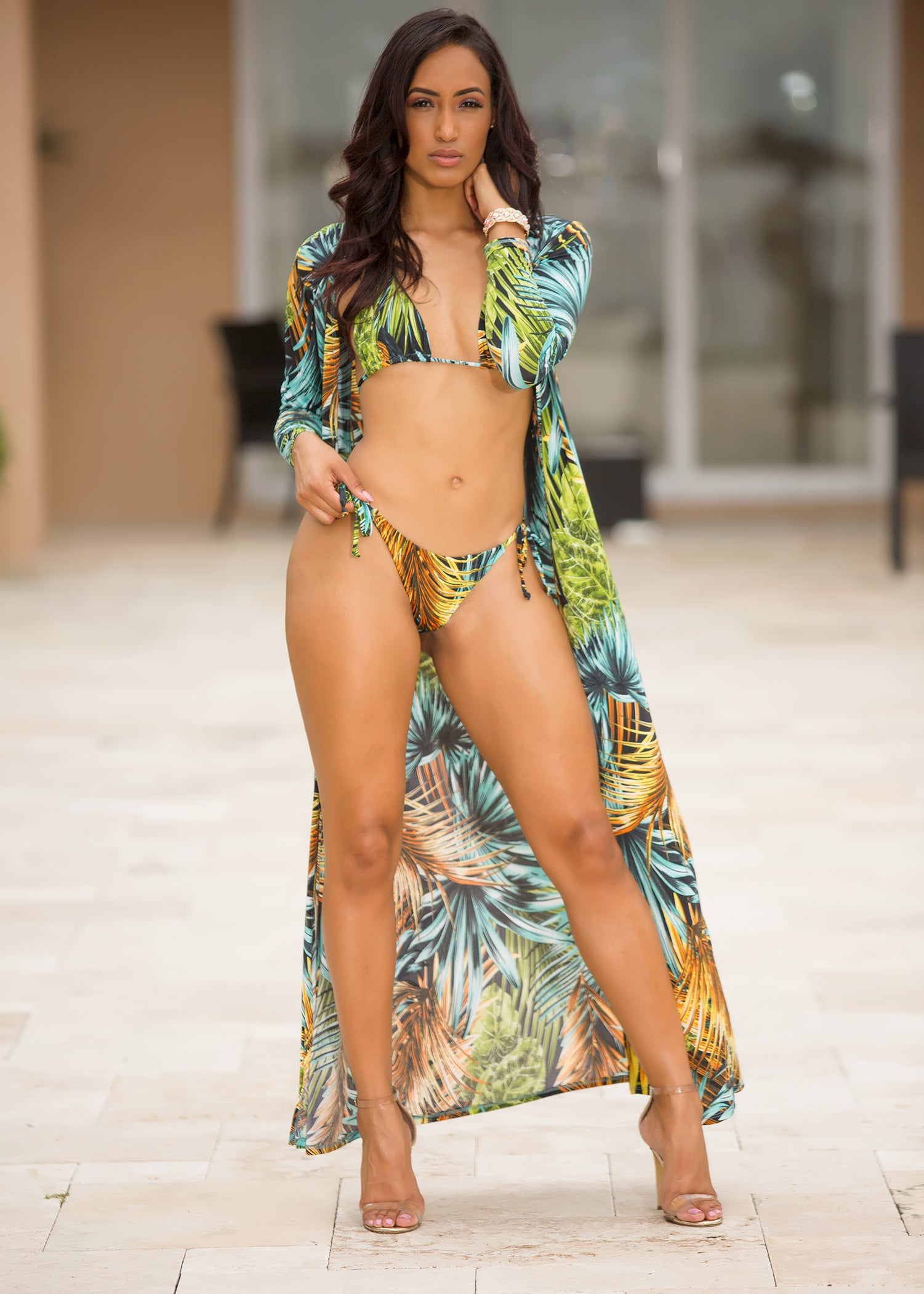 Palm Tree Breeze 3 piece swimsuit