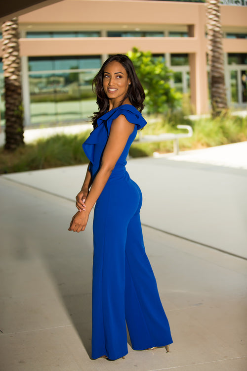 614a082da77 Strike A Pose Wide Leg Jumpsuit - Blue Back