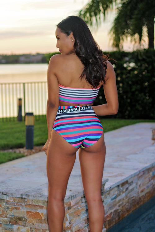 Stripe Fashion Obsessed Swimsuit Set - Multi Back
