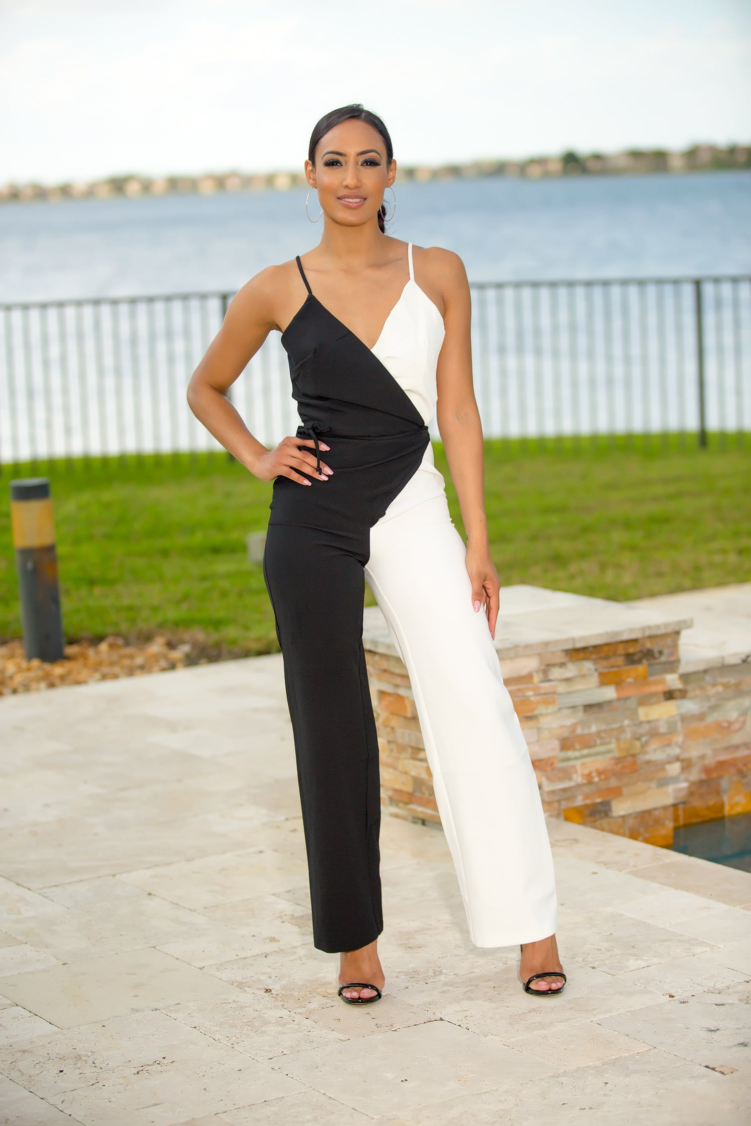Black And White Color Block Jumpsuit