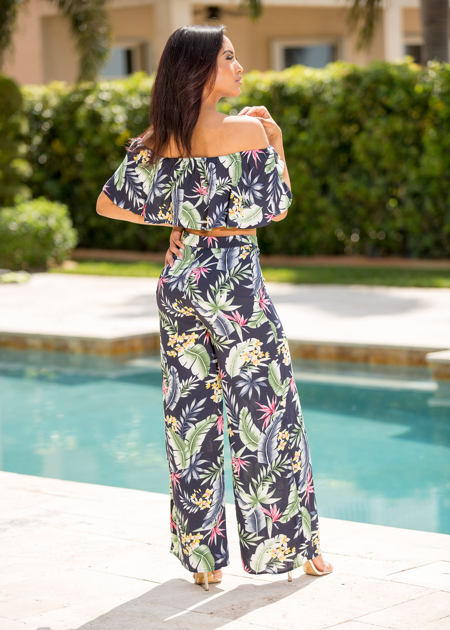 Junie - Tropical Emotions Floral Pant Set Green - Semai House Of fashion