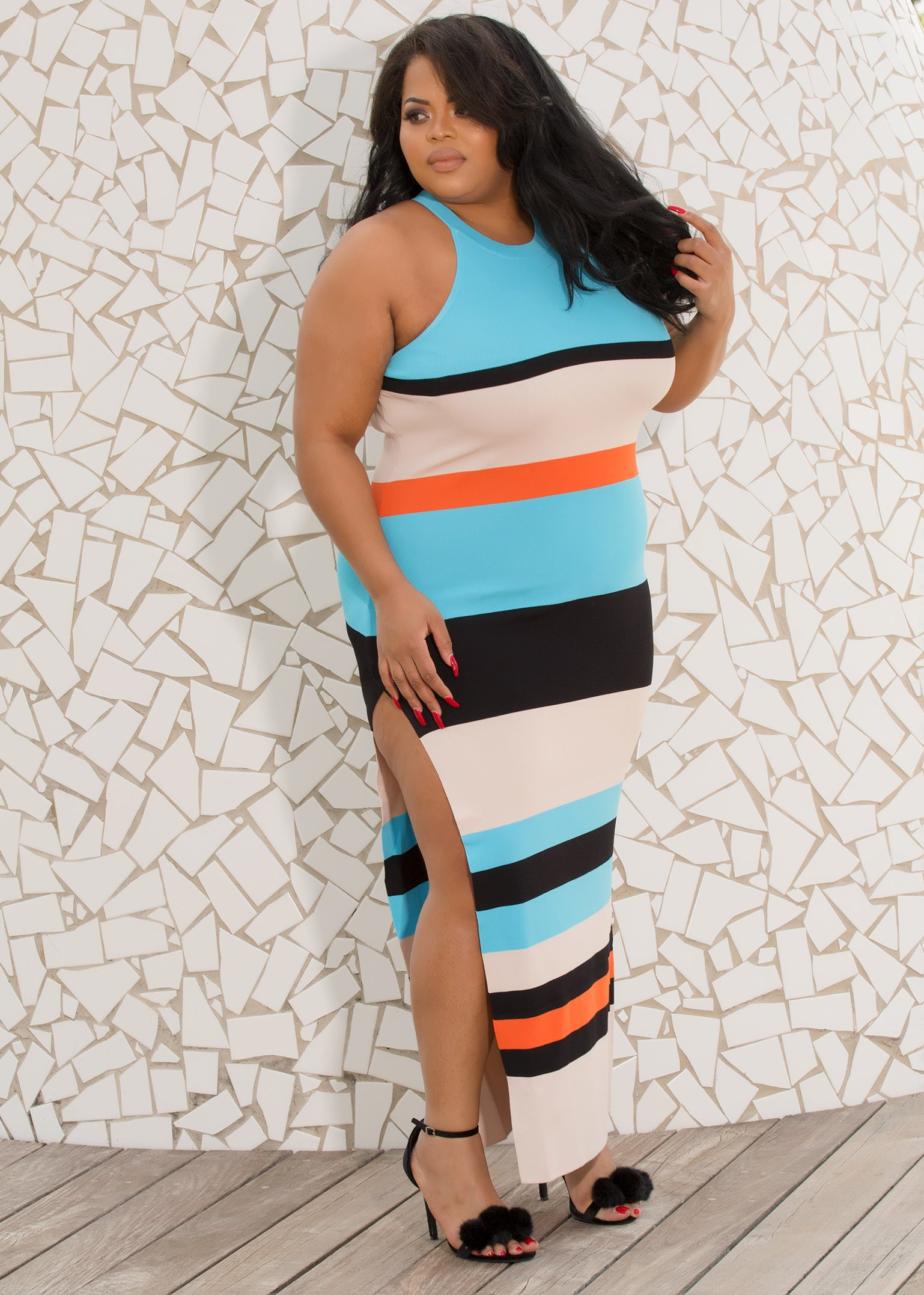 Julie - Whats Your Stripe Plus Size Maxi Dress - Semai House Of fashion