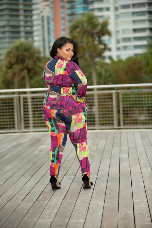Daphne - World Of Color Plus Size Pant Set - Semai House Of fashion