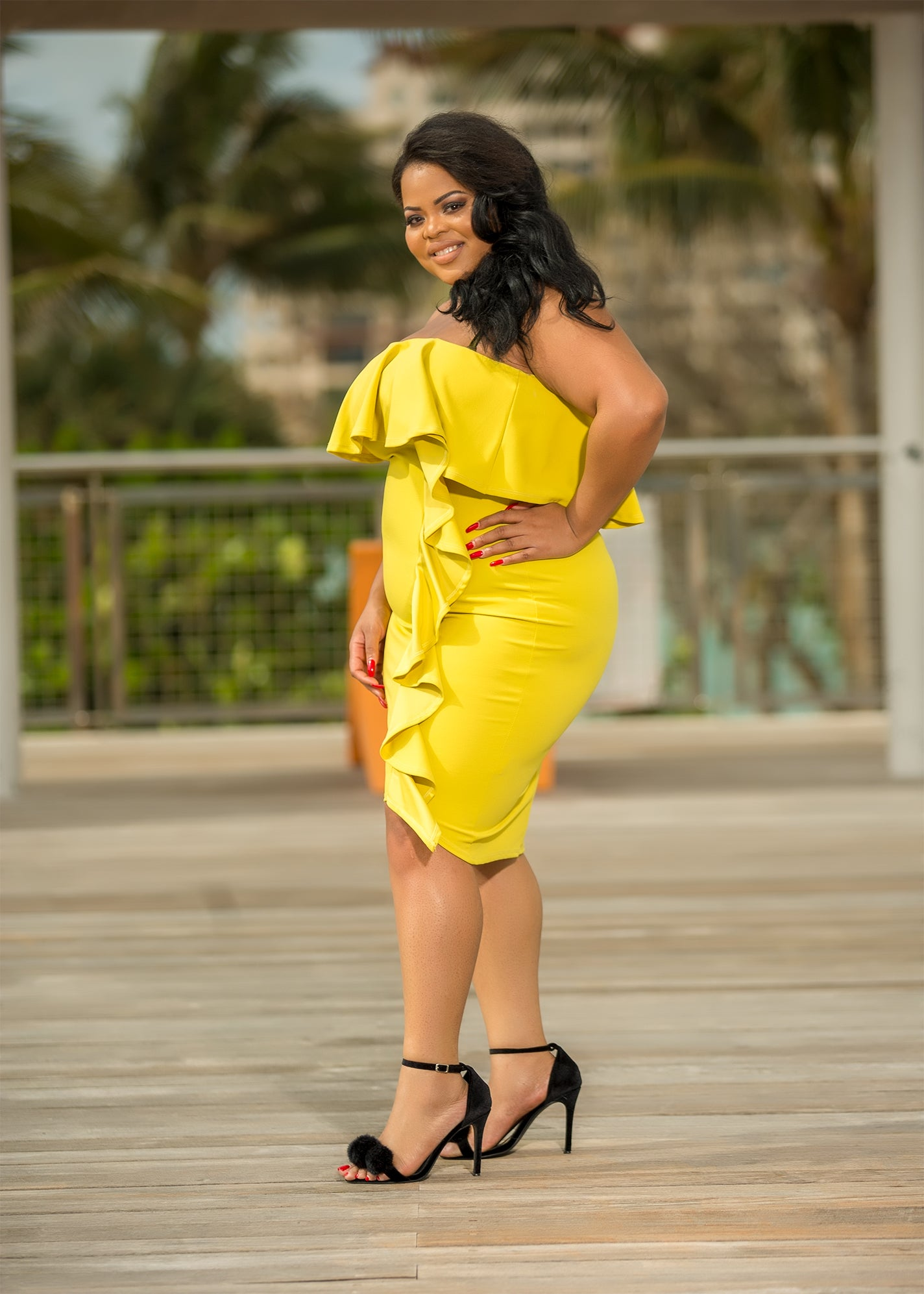 Women Power Plus Size Midi Dress -Yellow Ruffled Dress – Semai House ...