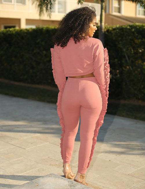 Cassie Set - Pink Ruffled Pants Set - Semai House Of fashion
