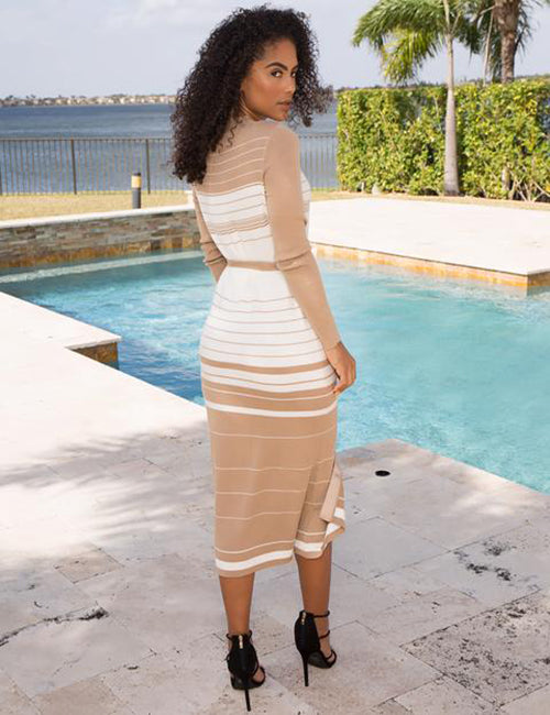Liana - Just Striping Around Midi Dress - Semai House Of fashion