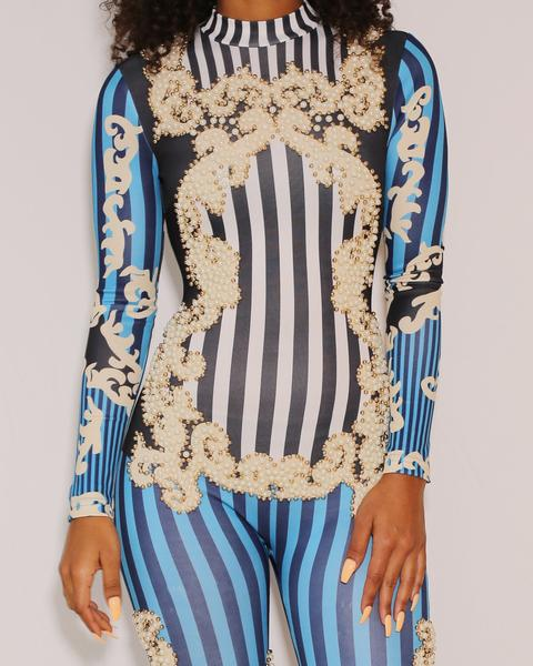 Alena - Pearly Striped Long Sleeve Jumpsuit - Semai House Of fashion