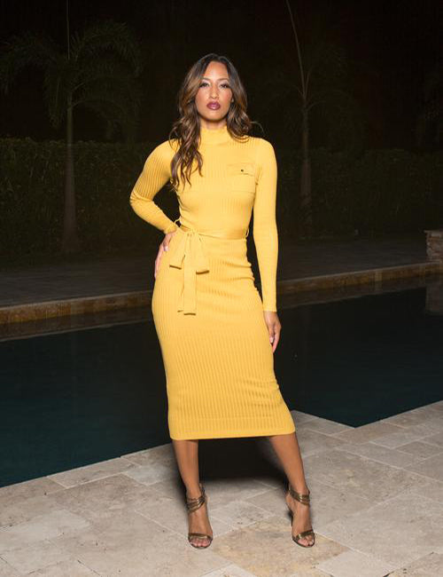 Chrissy - Mock Neck Long Sleeve Midi Dress